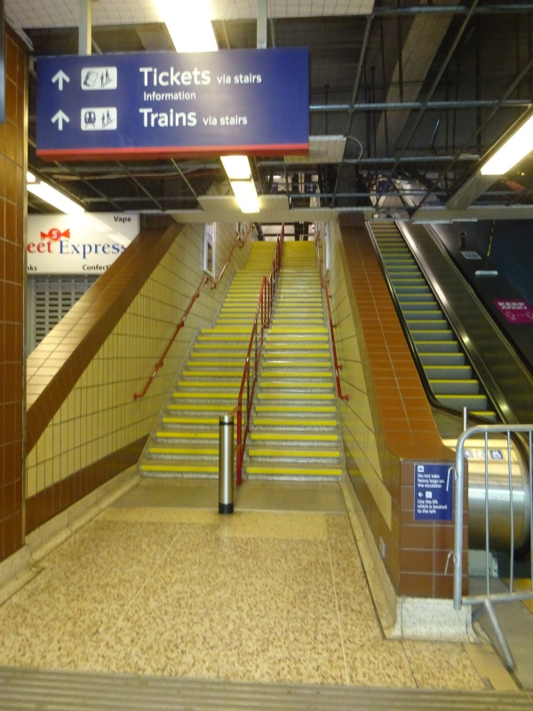 Fenchurch station and stairs with the escalator broken, pathetic in May 2021