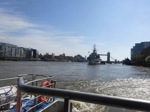 River Thames from the Uber riverboat with Tower bridge in the background as we head towards Wesminster