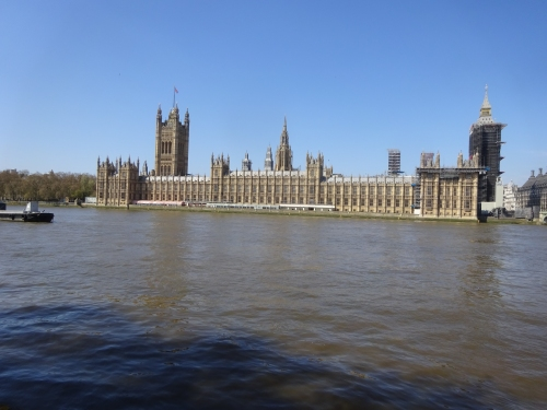 The view of the Houses of Parliament from the covid wall memorial in 2021
