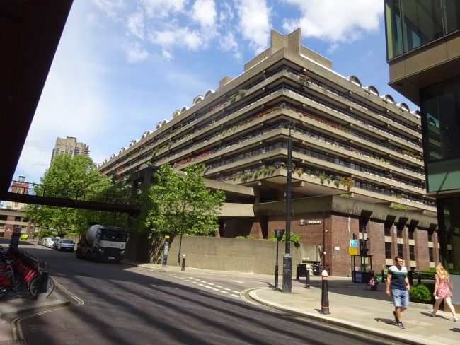 The Barbican buildings and residences in June 2021