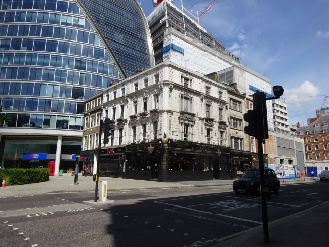 The Globe at Moorgate with the Metro Bank buidling in the background, in June 2021