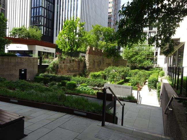The Salters gardens, alongside Salter hall in June 2021