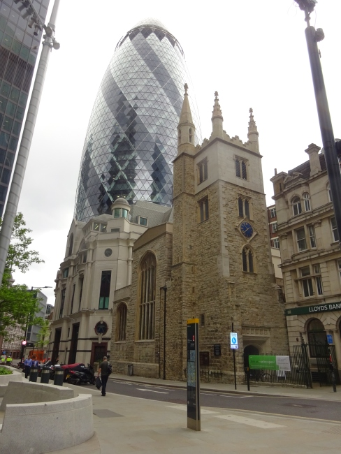 St Andrew Undershaft church, St Mary Axe and the Gherkin - in June 2021
