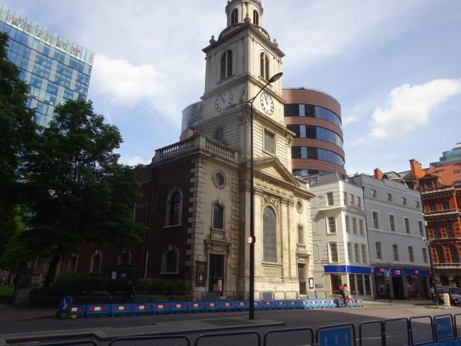St Botolph Bishopsgate church, in June 2021