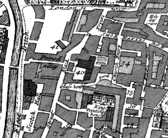Brome-Strype mapping of Blackfriars shoing Shoemakers row, Kings Printing House, Black Fryers etc. circa 1694-1720