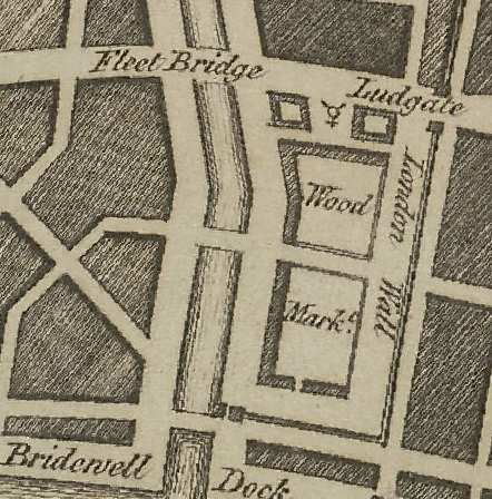 Wren plan in 1666 of Blackfriars showing a distinct London wall alongside Wood market and Bridewell dock to the west