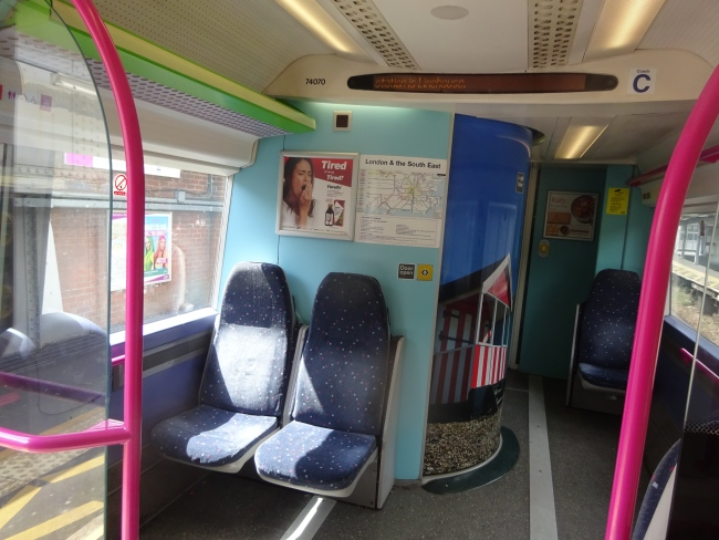 A toliet on an c2c train in the front carriage, and lots of room for cycles and wheelchairs etc in July 2021