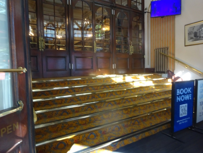 Novello Theatre entrance to Mamma Mia at 5 Aldwych, London, WC2B 4LD  in October 2021
